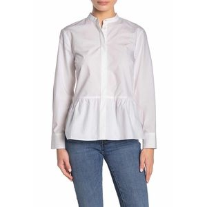 J. Crew Button Front Peplum Blouse In White